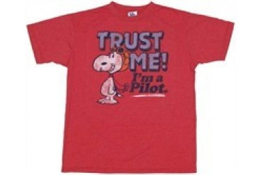 Peanuts Snoopy Trust Me I'm a Pilot T-Shirt Sheer by JUNK FOOD