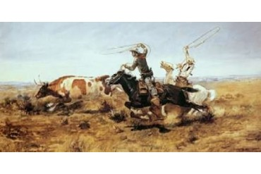 O. H. Cowboys Roping a Steer Poster Print by Charles M. Russell (10 x 20)