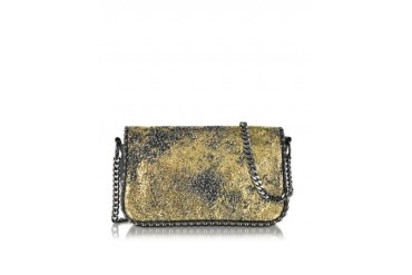 Neutrone Gold Laminated Eco Leather and Black Leather Crossbody Bag