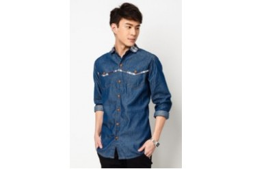 Long Sleeve Denim Shirt With Contrast Check Collar