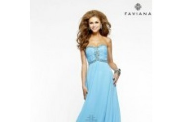 "Faviana ""In Stock"" Marine Blue Dress - Style 7366"
