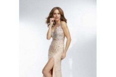 "Mori Lee Paparazzi ""In Stock"" Nude Dress - Style 95118"