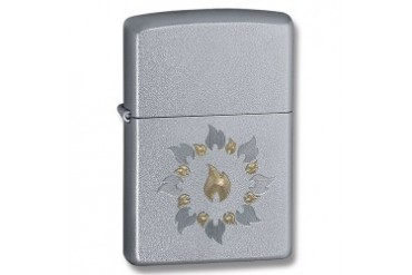 "Zippo ""Ring of Fire"" Lighter with Satin Chrome Finish"