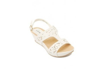 White Britanny Wedges Sandals