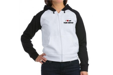 I Love My Twin Sister Family Women's Raglan Hoodie by CafePress