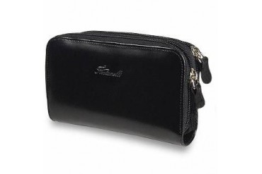 Black Polished Calf Leather Zip Wallet