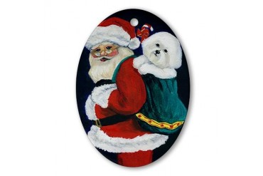 Bichon & Santa Oval Ornament