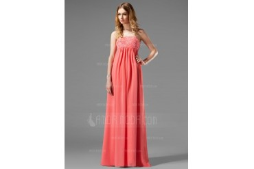 Empire Strapless Floor-Length Chiffon Maternity Bridesmaid Dress With Lace (045022466)