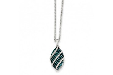 1 3 Ctw Blue amp White Diamond Striped Oval Necklace in Sterling Silver