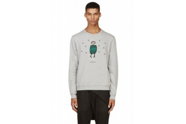 Carven Grey Embroidered Graphic Sweatshirt