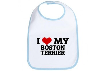 I Love My Boston Terrier Pets Bib by CafePress
