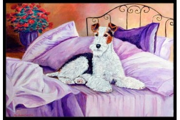 Fox Terrier Waiting on Mom Indoor or Outdoor Mat 24x36 Doormat