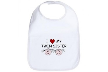 HolliesHobbies.NET Love My Twin Sister Baby Bib by CafePress