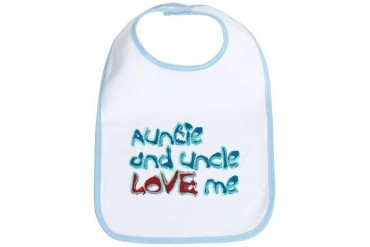 Auntie and Uncle Love Me Baby Bib by CafePress