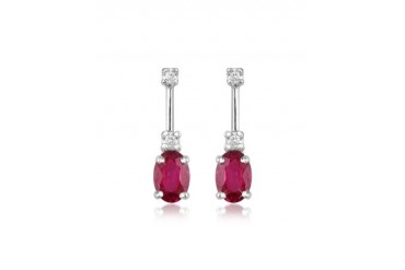 Ruby and Diamond 18K Gold Drop Earrings