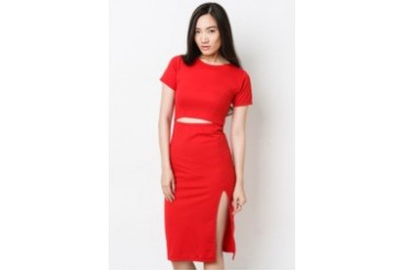 Hannah Red Cut Out Dress w/Slit