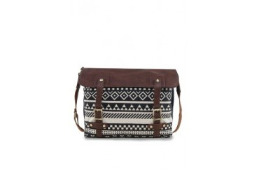 EZRA by ZALORA Aztec Print Satchel With Faux Leather Flap