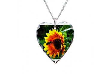 Sunflower and Bee Nature Necklace Heart Charm by CafePress