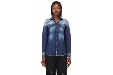 Dsquared2 Blue Faded And Painted Western Denim Shirt