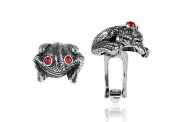 Sterling Silver and Cornelian Frog Cufflinks