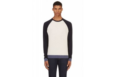 Rag And Bone Navy And Beige Luke Sweater