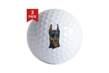 dobie-head.png Art Golf Balls by CafePress
