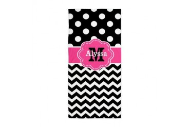 Pink Black Dots Damask Monogram Beach Towel