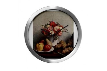 Fruit and Flowers Vintage Modern Wall Clock by CafePress
