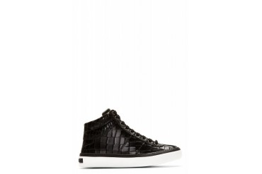 Jimmy Choo Black Croc embossed Belgravi High top Sneakers