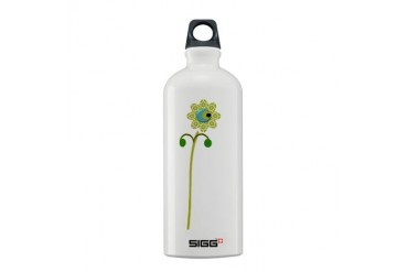 Green Button Flower Nature Sigg Water Bottle 0.6L by CafePress