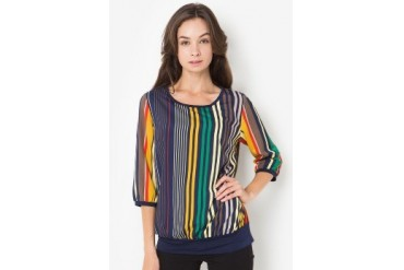 Brilliant Girl Blouse Dongker Garis