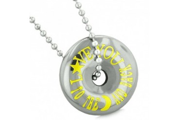 Love You to the Moon Back Amulet Coin Lucky Donut Hematite 18 Inch Necklace