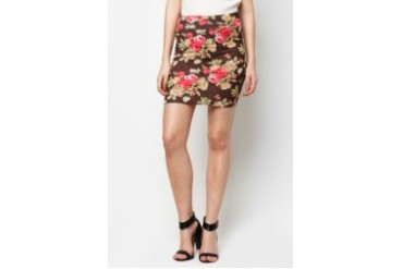 LASH Floral Print Basic Pencil Skirt with Elastic Waistband
