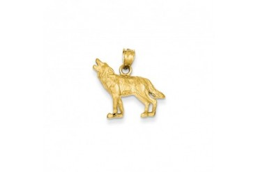 Satin and Diamond Cut Howling Wolf Pendant in 14K Yellow Gold