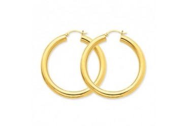 5mm, 14K Yellow Gold Classic Hoop Earrings, 60mm (2 3 8 inch)
