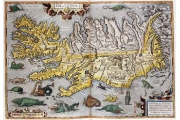 Hand Colored Map of Iceland Poster Print by Abraham Ortelius (20 x 28)