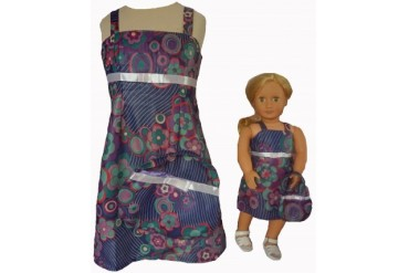 Size 10 Geometric Flower Print Matching Girl And Doll Sundress