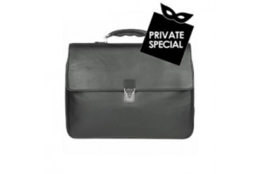 Men's Black Italian Leather Padded Laptop Briefcase