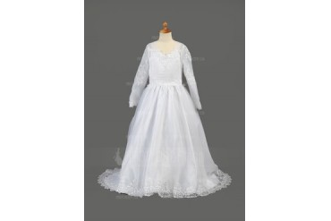 A-Line/Princess V-neck Sweep Train Organza Flower Girl Dress With Embroidered (010005886)