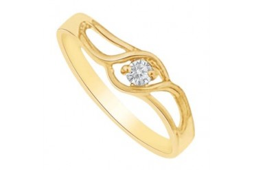 ral Diamond Prong Set Swift Twist Birthstone Mother Ring in 14K Yellow Gold