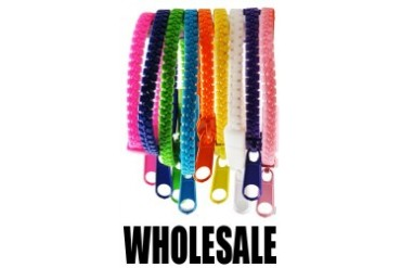 Hip Zip - Real Zipper Bracelets in Assorted Colors Wholesale (12-Pack)