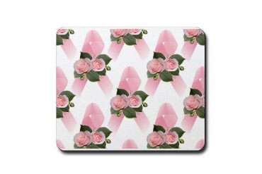 Breast Cancer Ribbon Roses Sports Mousepad by CafePress