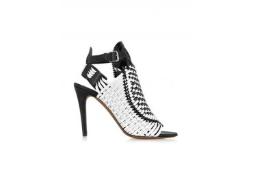 Black and White Woven Patent Leather Slingback Sandal