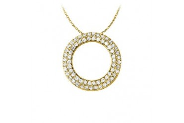 ubic Zirconia Pretty Circle Pendant in Yellow Gold Vermeil with Free Chain