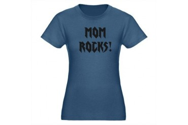 Mom Rocks Holiday Organic Women's Fitted T-Shirt dark by CafePress