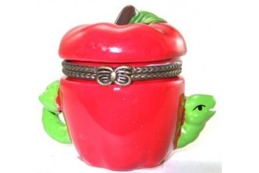Red Delicious Apple Worm Hinged Trinket Box phb