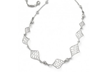 Bead and Twisted Honeycomb Link Necklace in Sterling Silver, 18 Inch
