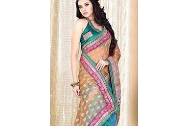 Beige and Green half n half saree