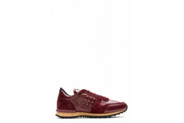 Valentino Burgundy Leather And Suede Rockstud Sneakers