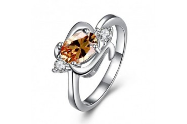 Orange Citrine Gem Spiral Emblem Petite Ring Size 8